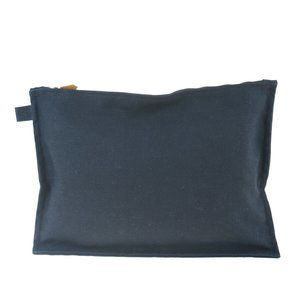 HERMES Flat Clutch Hand Bag Pouch Cotton Leather B